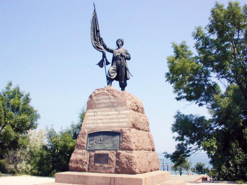 Памятник казакам на месте их высадки в Тамани