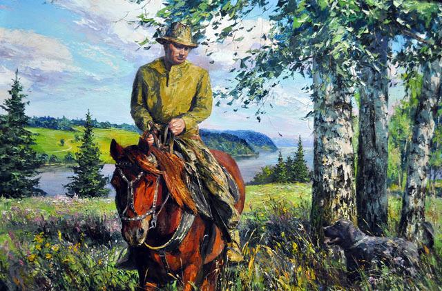 Путин на природе