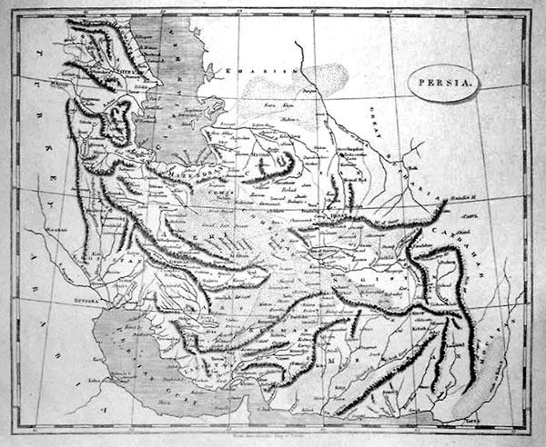 Эта карта Персии была опубликована бостонским издательством  «Thomas & Andrews» в 1812 году. Если бы авторы нанесли на нее государственные границы, уже год спустя она бы оказалась сильно устаревшей