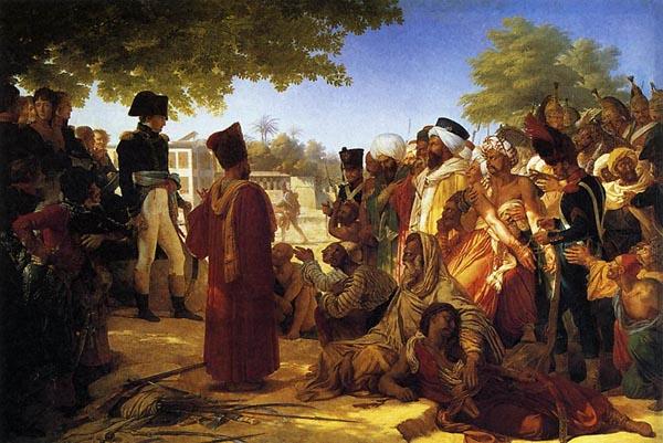 Еще задолго до кампании 1812 года Наполеону приходилось иметь дело с мусульманами. Пьер-Нарсис Герэн (Pierre-Narcisse Guerin, 1774–1833) изобразил момент прощения Наполеоном мамлюкских лидеров после восстания в Египте 1798 года. Так всё и было, только предварительно будущий император уничтожил почти всех повстанцев