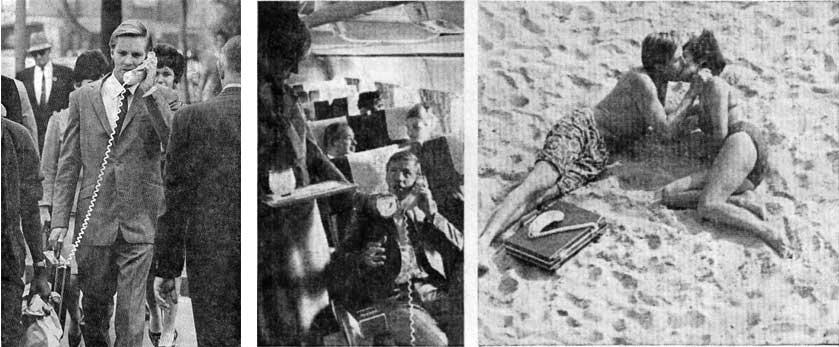Актеры Стив Карлсон и Барбара Бишоп рекламируют Carry Phone, 1967 год.