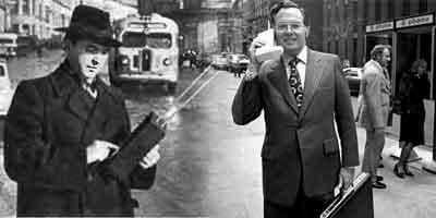 """Слева: 1957 год, Л.И. Куприянович с мобильным телефоном на улицах Москвы, справа: 1973 год, вице-президент """"Моторолы"""" Джон Ф. Митчелл с мобильным телефоном в Нью-Йорке. (снимок слева был опубликован в статье """"Юному технику - 40 лет!"""", ЮТ, 9, 1996, с. 5.)"""