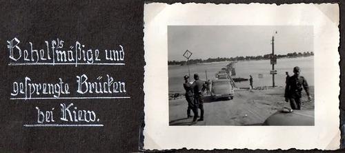 Немецкая автоколонна движется по понтонному мосту на левый берег Днепра.