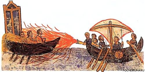 """Источник фото Византийцы стреляют """"греческим огнем"""" (миниатюра XII в.)."""
