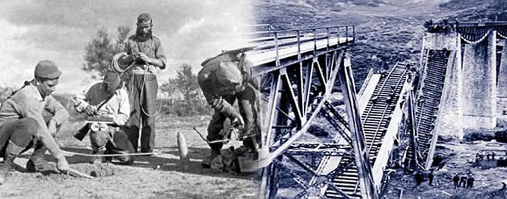 Взрыв моста на реке Горгопотамос 25 ноября 1942 г. В операции приняли участие12 британских подрывников, 150 бойцов ЭЛАС и 52 бойца ЭДЭС. Операция нанесла существенный урон силам гитлеровского блока. Благодаря операции, войска Роммеля, отступавшие в Северной Африке после поражения при Эль-Аламейне, были отрезаны от необходимых поставок амуниции из Европы кратчайшим путём. Источник: http://en.wikipedia.org/wiki/Operation_Harling.