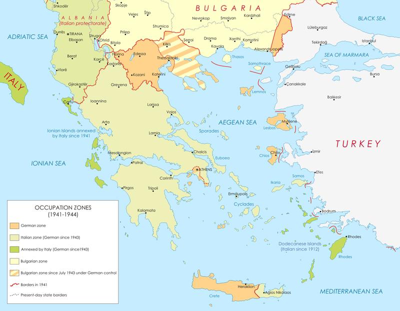 Карта оккупации Греции войсками стран Оси (Германии, Италии и Болгарии).