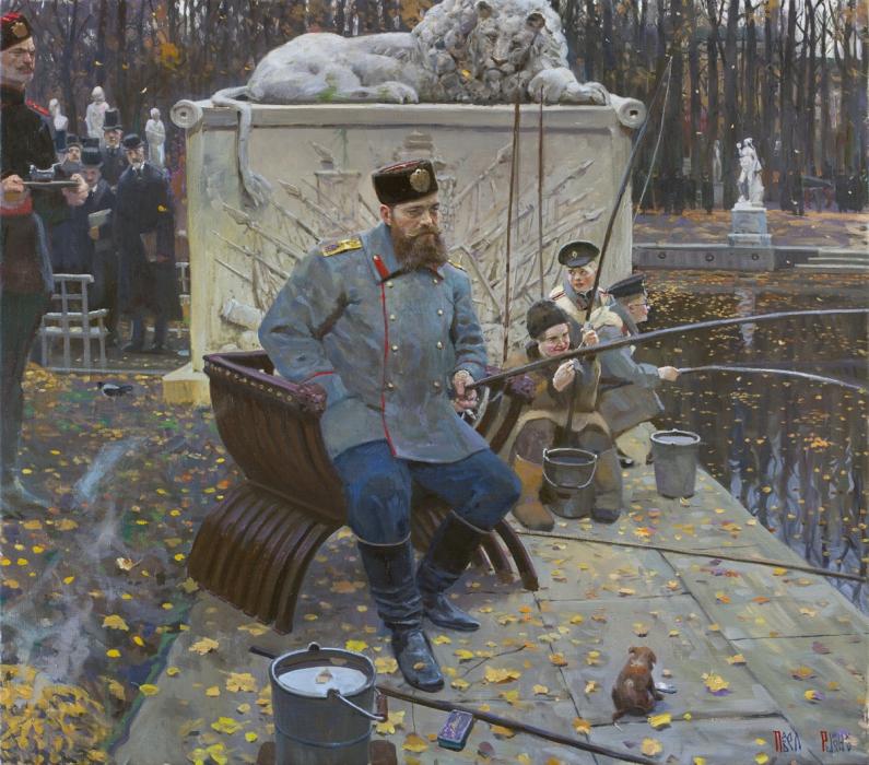 «Когда Русский Царь удит рыбу, Европа ждёт». Картина Павла Рыженко